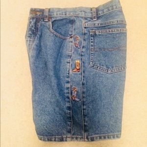 Vintage Embroidered Mom Jean Shorts